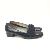 SALVATORE FERRAGAMO Boutique Black Patent Leather Grosgrain Bow Shoes 7.... - $86.44 CAD
