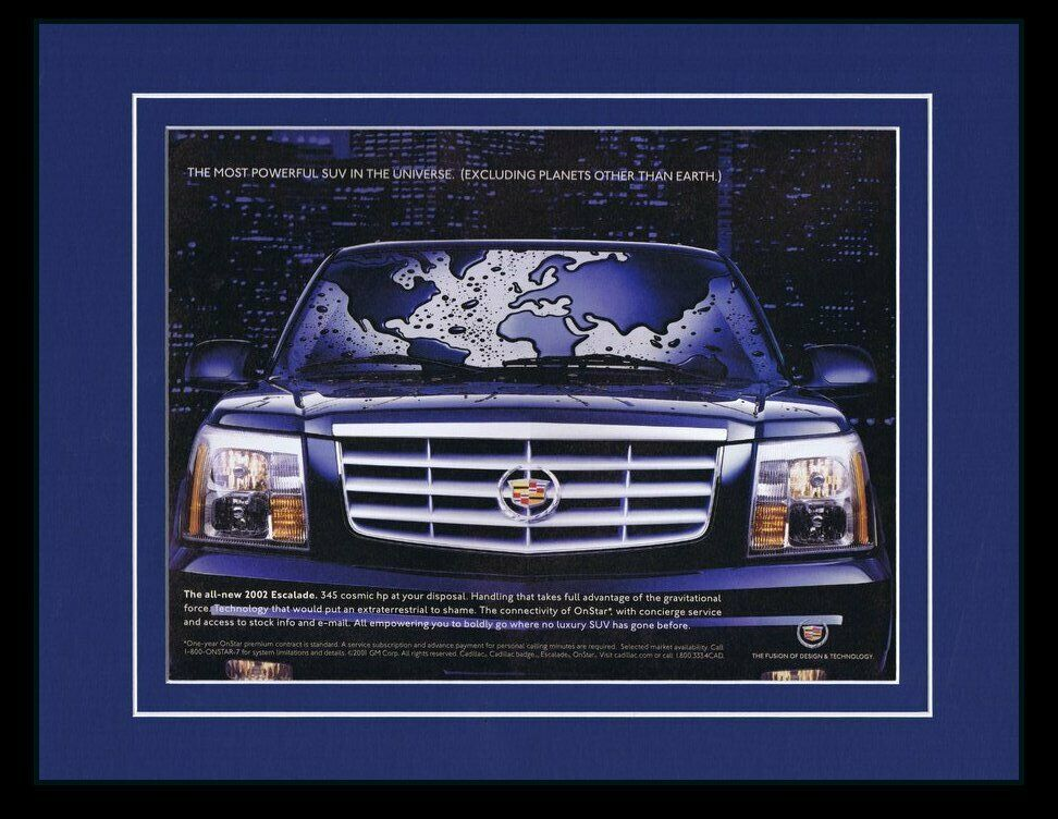 Primary image for 2002 Cadillac Escalade 11x14 Framed ORIGINAL Vintage Advertisement