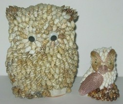 "Vintage Mid Century Seashell Owls Google Eye Owl 5"" and 3"" tall  - $18.66"