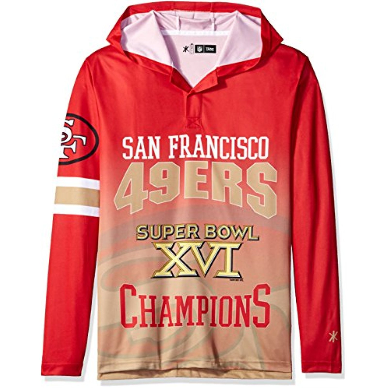 NFL San Francisco 49ers Super Bowl XVI Champions Hoody Tee, Medium