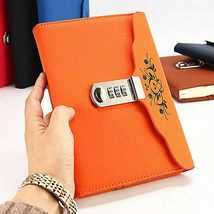 Orange Leather Journal Diary with Code Lock for Girl Embossed Floral Sec... - $25.15