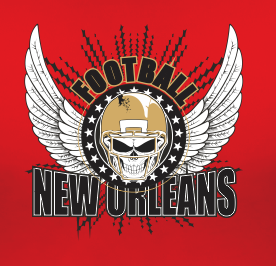 New Orleans Football Sports Style Graphic T Shirt Black Red White L XL 2XL