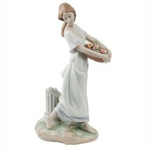 """Lladro """"Garden of Athens"""" #7704 Young Woman with Floral Basket Great Con... - $337.71"""