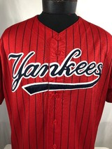 VTG New York Yankees Jersey 90's Authentic Sewn Pinstripe Red MLB Majest... - $49.99