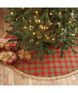 "Christmas tree skirt barn red forest green natural burlap 48"" plaid farm... - $39.59"