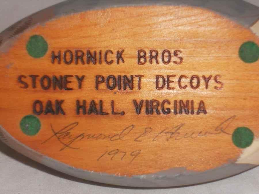 1979 Stoney Point Carved Wood Mallard Drake Duck Decoy Signed Raymond Hornick