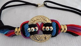 Vintage Womens Belt Throwback Rope Wide Wrap Colorful Gold Chain Medalli... - $29.68