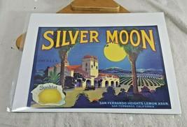 Vtg Fruit Crate Label Silver Moons Brand Lemons Sunkist San Fernando CA 12 x 9 - $13.85