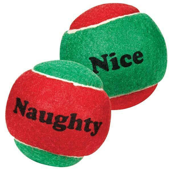 "Primary image for Dog Toy Naughty Nice Holiday Themed Tennis Balls Red Green 2.5"" Choose Quantity"