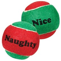 """Dog Toy Naughty Nice Holiday Themed Tennis Balls Red Green 2.5"""" Choose Quantity"""