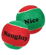 "Dog Toy Naughty Nice Holiday Themed Tennis Balls Red Green 2.5"" Choose Q... - $8.80+"