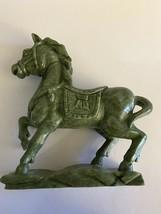 """Vintage Carved Tang Horse ~ Dark Green Jade ~ 9 1/2"""" - $292.05"""