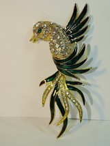 Large Bird of Paradise Pin Brooch Gold Tone Emerald Rhinestone Shoulder ... - $29.69