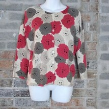 Talbots 3/4 Sleeve Cardigan Sweater S button Pink Tan Cream Floral Scoop... - $24.30