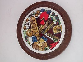 Fred Press Cheese Fruit Board Round Painted Trivet Bread Rolls Tile - $19.99