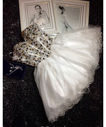 Luxury Crystal Short Homecoming Dress White Tulle Cocktail Party Gowns S... - $139.88