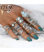 17KM® 16 pcs/set Vintage Hand Knuckle Opal Finger Ring Set For Women Lea... - $6.51