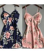 Womens Lace Satin Silk Strappy Nightdress Nightie Sleepwear Ladies Pajam... - $16.00