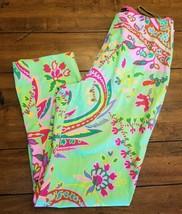 Ralph Lauren Black Label Sz 4 Cotton Floral Straight Leg Dress Pants Gre... - $29.09