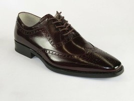 Men Leather Dress Shoes GIOVANNI Oxford Wingtip toe European Ferrara Bur... - $119.99