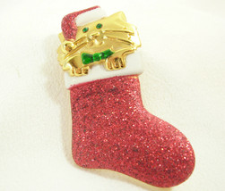 AJC Cat Stocking Red Glitter Christmas Brooch Pin Gold Plate Kitty Vintage - $13.81