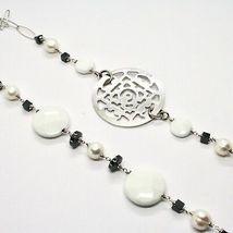 Lange Halskette 1 MT aus Silber 925 mit Hämatit Achat und Perlen Made in Italien image 5