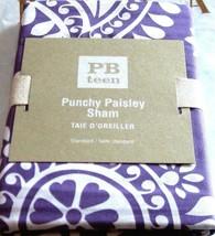 Pottery Barn Teen Sham Punchy Paisley Standard Pillow Sham Plum Purple 26x20 NIP - $24.73
