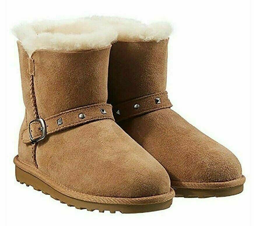 Kirkland Signature Kids Chestnut Australian Sheep Shearling Buckle Winter Boots