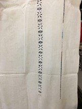 "Antique Ecru French Linen Tablecloth with Ladderwork 96""x66"" - $102.65"