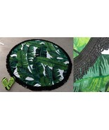 "Better Homes & Garden 60"" ROUND Beach Towel Fringe Palm Tree Leaves Trop... - $19.77"