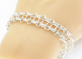 925 Sterling Silver - Shiny Etched Detail Wavy Link Chain Bracelet  - B5875 - $42.93