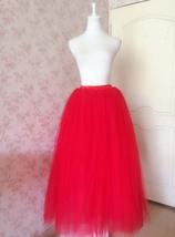 Women's Red Tulle Skirt Floor Length Red Maxi Tulle Skirt High Waist Prom Skirt image 3
