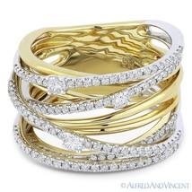 0.81ct Round Cut Diamond 14k Yellow & White Gold Right-Hand Overlap Fash... - €1.982,55 EUR