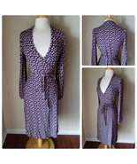 Boden Women's Dress NWOT Navy Pink Floral Stretch Knit Wrap Dress Retro ... - $185.99