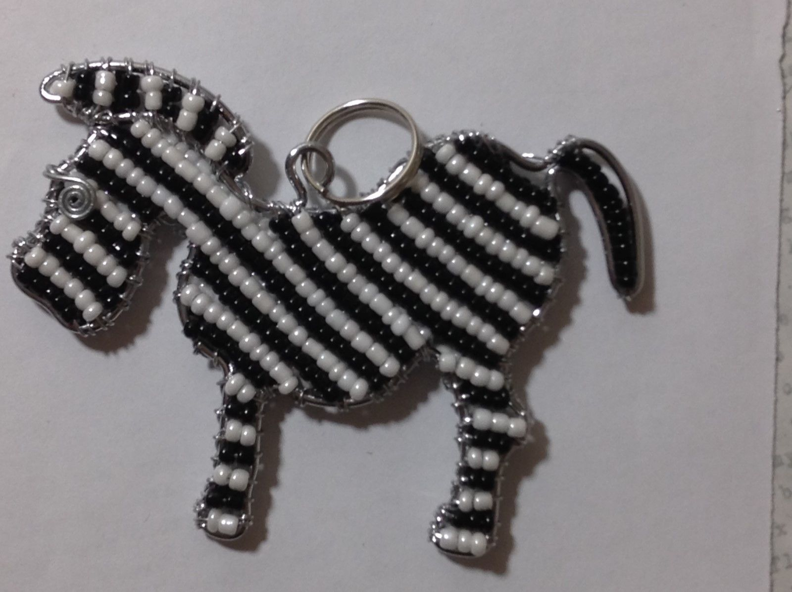 NEW Hand Beaded Black and White Zebra Key Chain