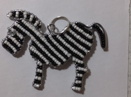 NEW Hand Beaded Black and White Zebra Key Chain