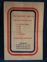 Windsor 2192 Multi Band Portable Radio Instruction Manual Vtg - $7.91