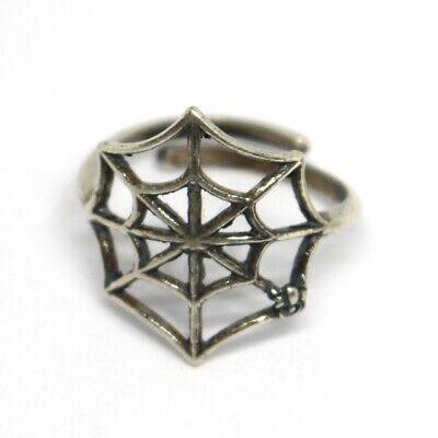 Ring aus Silber 925, Spinnennetz, Effekt Antik, Brüniert, Band, Spinne