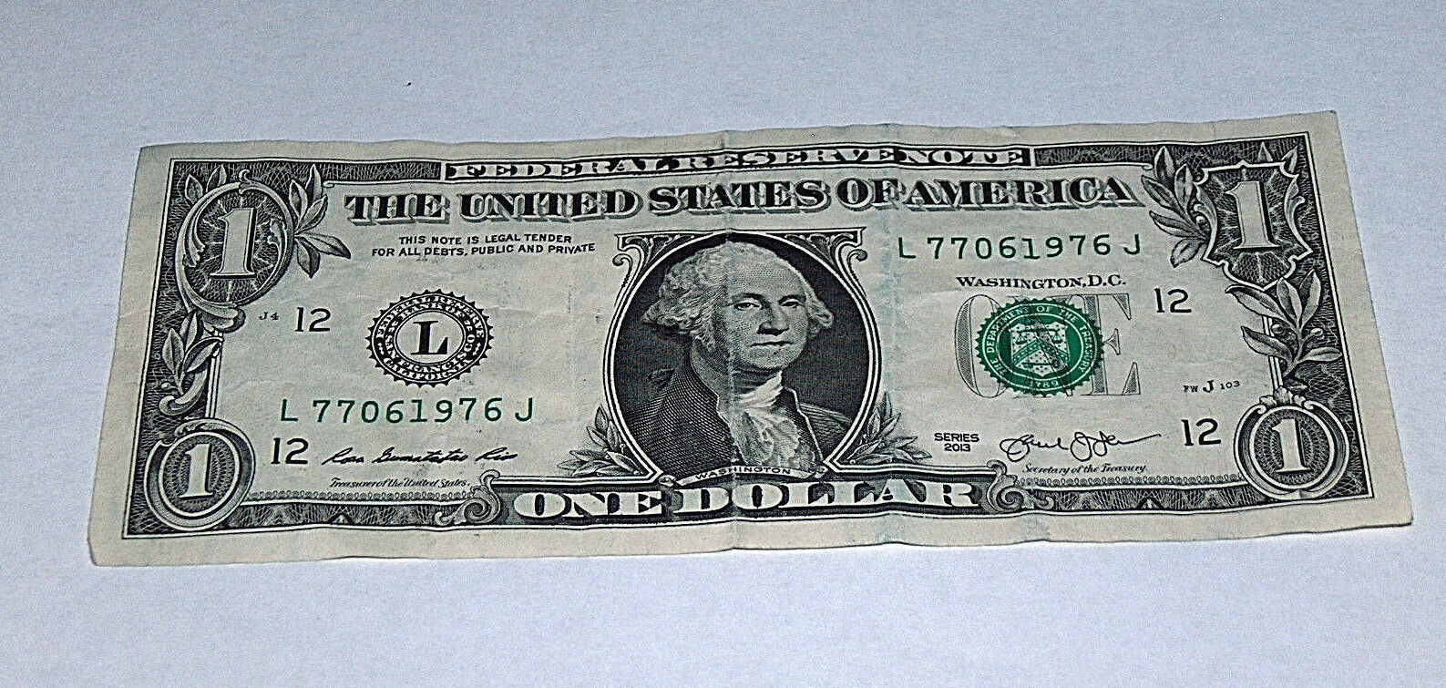 Primary image for 2013 Dollar Bill US Bank Note Date Year Birthday 7706 1976 Fancy Money Serial