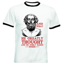 Homer Nobly Dared Quote - New Black Ringer Cotton Tshirt - $26.49