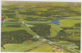 Aerial View of New Jersey Turnpike Linen 1952 Postcard - $7.95