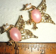 VTG PINK MOONGLOW HUMINGBIRD RHINESTONE PIN BROOCH CLIP EARRING NECKLACE... - $287.99