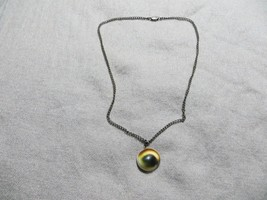 """Antique Art Deco COWRIE SHELL """"Cat eye"""" Protector Pendant Sterling Neckl... - $44.99"""