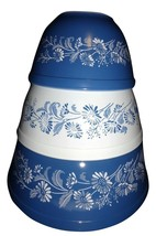 3  Pyrex Colonial Mist Navy Blue White Floral Mixing Nesting Bowl 401 40... - $79.19