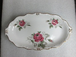VINTAGE CALLING CARD TRAY Queen Anne Pink Rose SWEET MEAT CONIDMENT PLAT... - $19.79