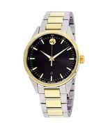Movado Stratus Quartz Movement Black Dial Silver Gold Band Men's Watch 6... - $326.69