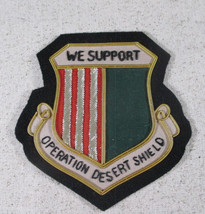 """We Support Desert Storm Beaded Shield 4"""" Felt Twill Patch Red Green Gold... - $29.69"""