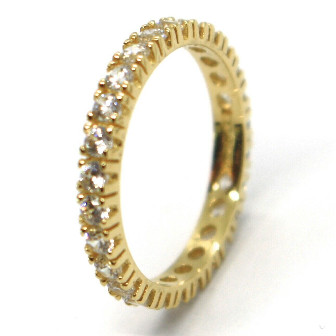 18K YELLOW GOLD ETERNITY BAND RING, WHITE CUBIC ZIRCONIA, THICKNESS 3 MM