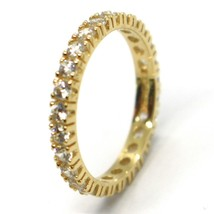 18K YELLOW GOLD ETERNITY BAND RING, WHITE CUBIC ZIRCONIA, THICKNESS 3 MM image 1