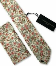 Frederick Thomas matching pink floral design mens tie pocket square necktie set